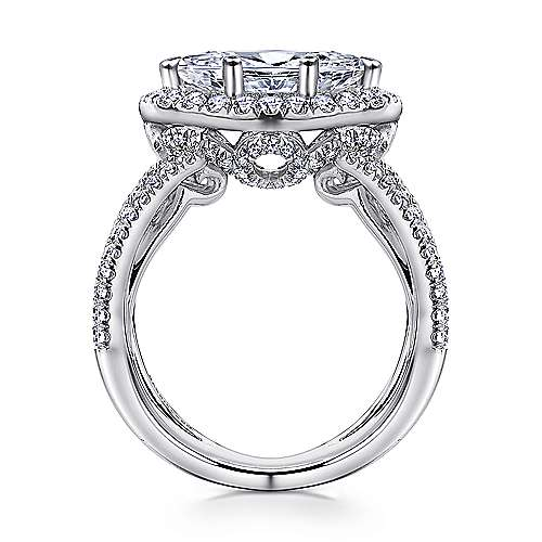 Josefina 18k White Gold Marquise  Halo Engagement Ring angle 2