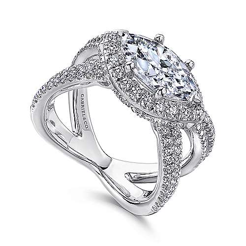 Josefina 18k White Gold Marquise  Halo Engagement Ring angle 3