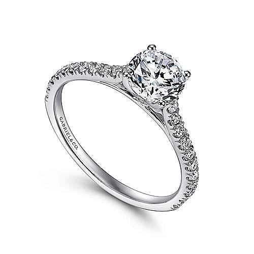 Josephine 18k White Gold Round Straight Engagement Ring angle 3