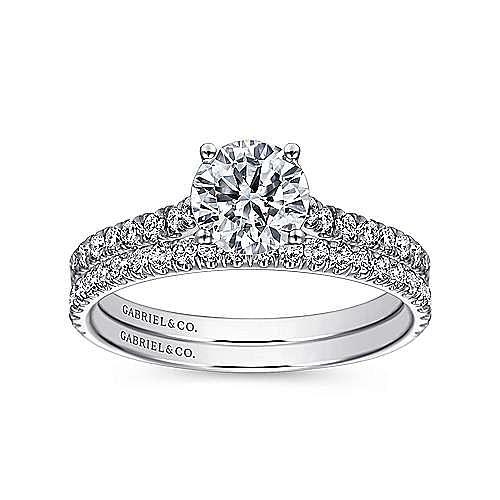Josephine 18k White Gold Round Straight Engagement Ring angle 4