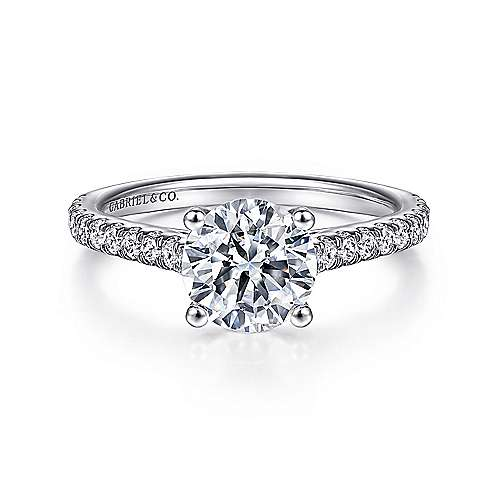 Gabriel - Josephine 18k White Gold Round Straight Engagement Ring