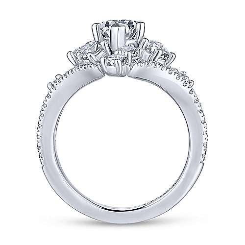 Jules 18k White Gold Marquise  Split Shank Engagement Ring angle 2