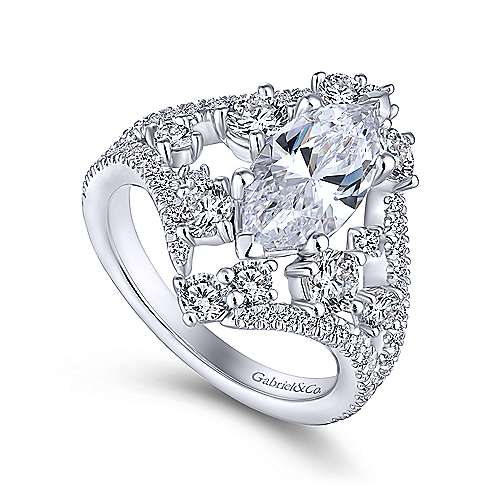 Jules 18k White Gold Marquise  Split Shank Engagement Ring angle 3