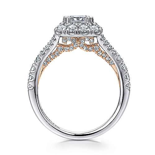 Juliana 14k White And Rose Gold Cushion Cut Halo Engagement Ring angle 2