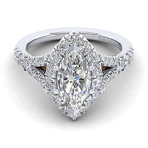 Gabriel - Juliana 14k White And Rose Gold Marquise  Halo Engagement Ring