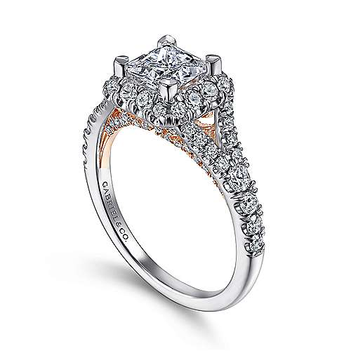 Juliana 14k White And Rose Gold Princess Cut Halo Engagement Ring angle 3