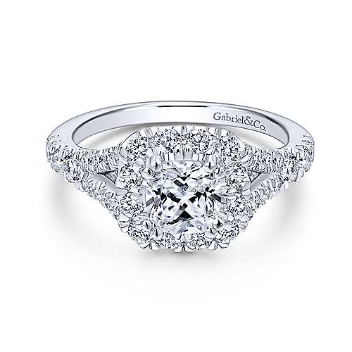 Gabriel - Juliana 14k White Gold Cushion Cut Halo Engagement Ring