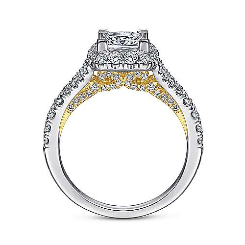 Juliana 14k Yellow And White Gold Princess Cut Halo Engagement Ring