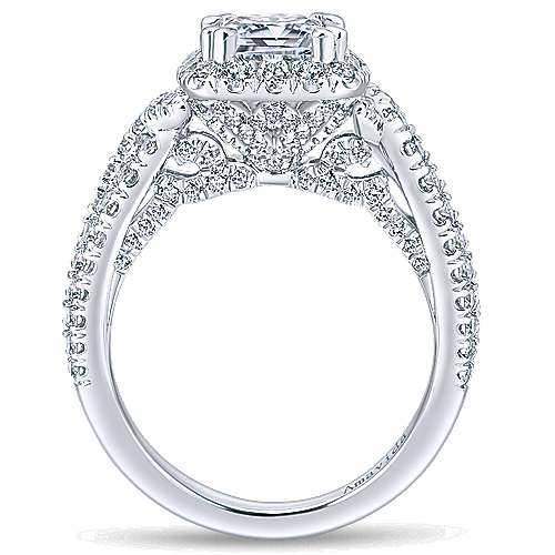 Julietta 18k White Gold Cushion Cut Halo Engagement Ring angle 2