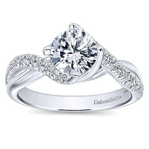 Julissa 14k White Gold Round Bypass Engagement Ring angle 5