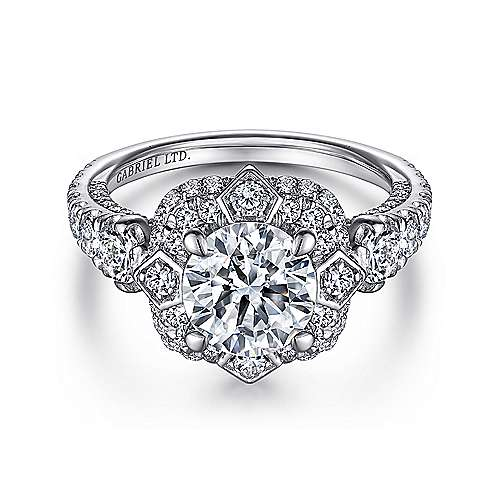 Gabriel - Julius 18k White Gold Round Halo Engagement Ring