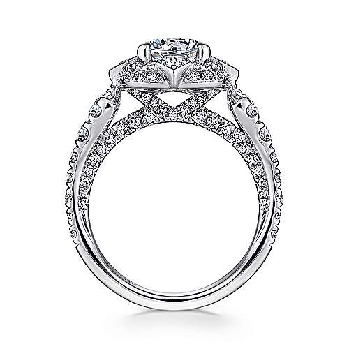 Julius 18k White Gold Round Halo Engagement Ring angle 2