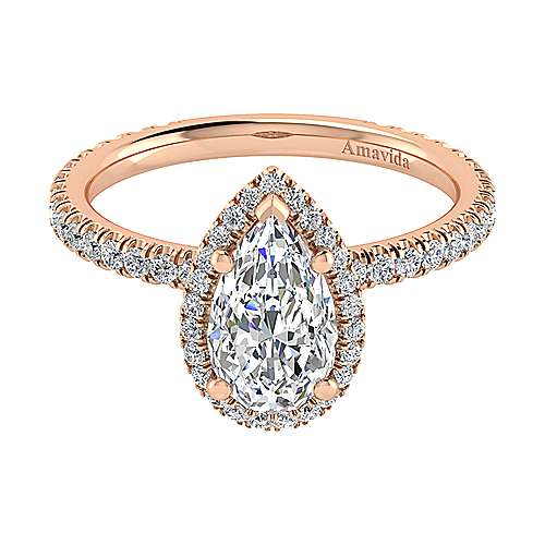 June 18k Rose Gold Pear Shape Halo Engagement Ring angle 1