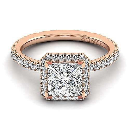 June 18k Rose Gold Princess Cut Halo Engagement Ring angle 1