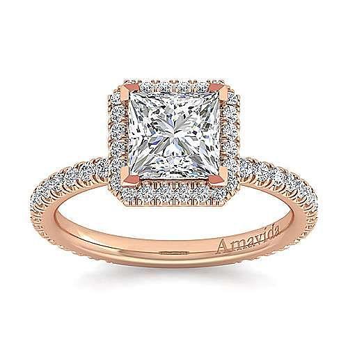 June 18k Rose Gold Princess Cut Halo Engagement Ring angle 5