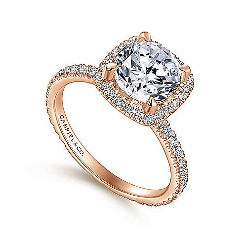 June 18k Rose Gold Round Halo Engagement Ring angle 3