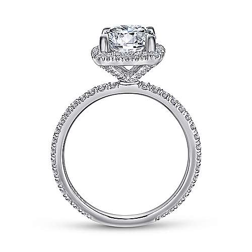 June 18k White Gold Round Halo Engagement Ring angle 2
