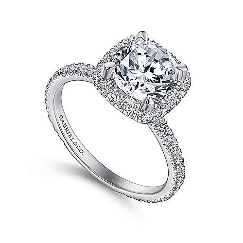 June 18k White Gold Round Halo Engagement Ring angle 3