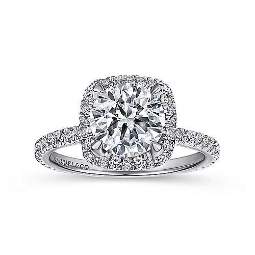 June 18k White Gold Round Halo Engagement Ring angle 5