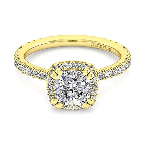 June 18k Yellow Gold Cushion Cut Halo Engagement Ring angle 1