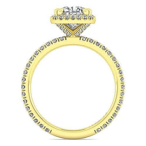 June 18k Yellow Gold Cushion Cut Halo Engagement Ring angle 2