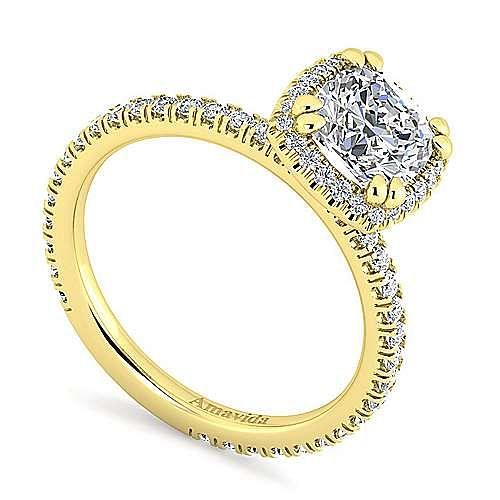 June 18k Yellow Gold Cushion Cut Halo Engagement Ring angle 3