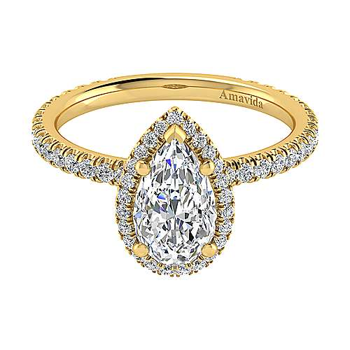 June 18k Yellow Gold Pear Shape Halo Engagement Ring angle 1