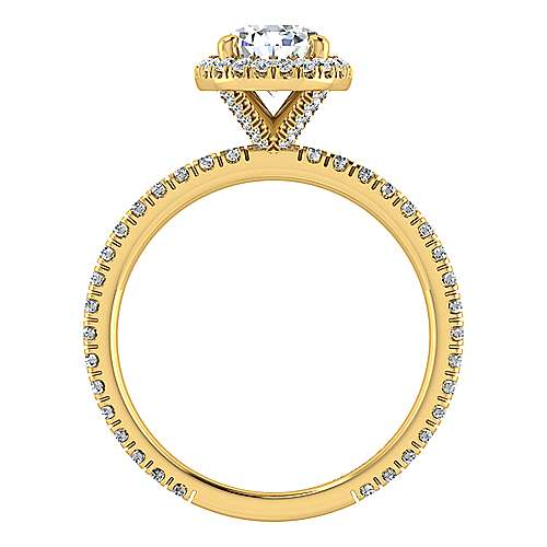 June 18k Yellow Gold Pear Shape Halo Engagement Ring angle 2