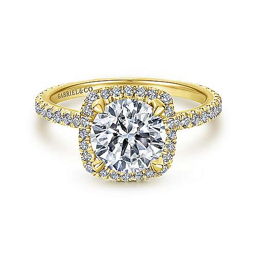 Gabriel - June 18k Yellow Gold Round Halo Engagement Ring