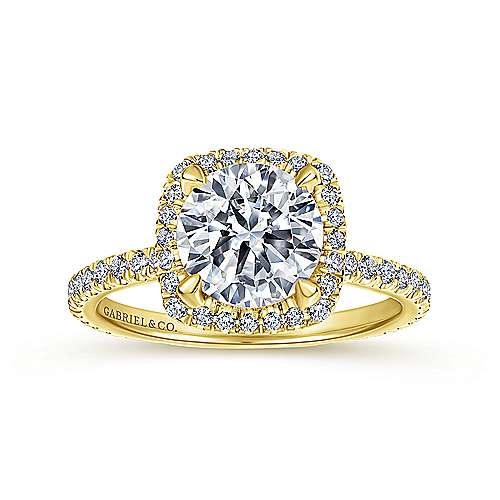 June 18k Yellow Gold Round Halo Engagement Ring angle 5