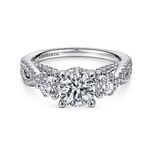 Gabriel - Juniper 14k White Gold Round 3 Stones Engagement Ring