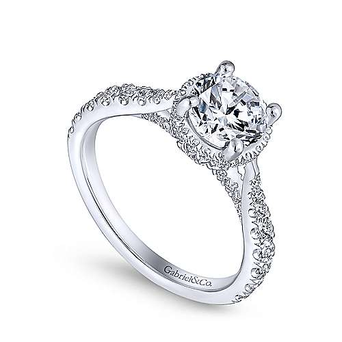 Juno 14k White Gold Round Straight Engagement Ring angle 3