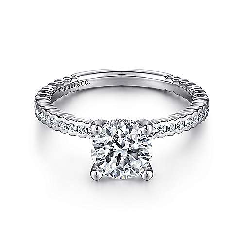 Gabriel - Justice 14k White Gold Round Straight Engagement Ring