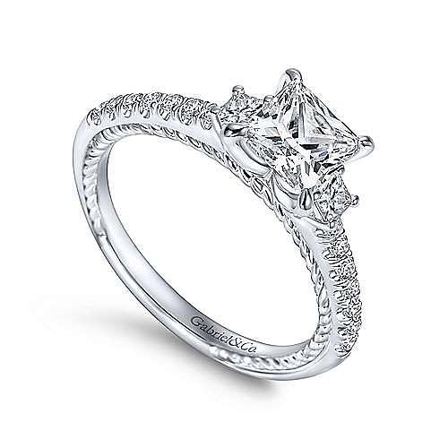 Kaiya 14k White Gold Princess Cut 3 Stones Engagement Ring angle 3
