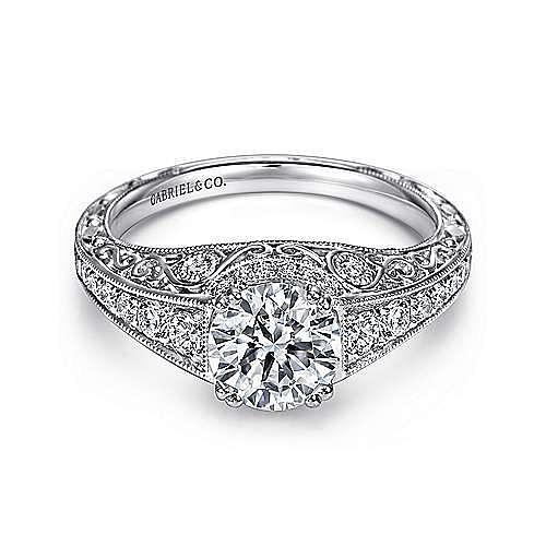 Kali Platinum Round Straight Engagement Ring angle 1