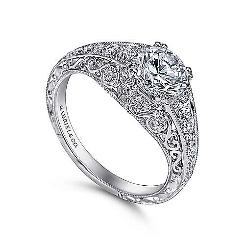 Kali Platinum Round Straight Engagement Ring angle 3