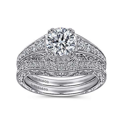 Kali Platinum Round Straight Engagement Ring angle 4