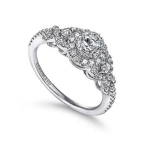 Kalinda 14k White Gold Round Halo Engagement Ring angle 3