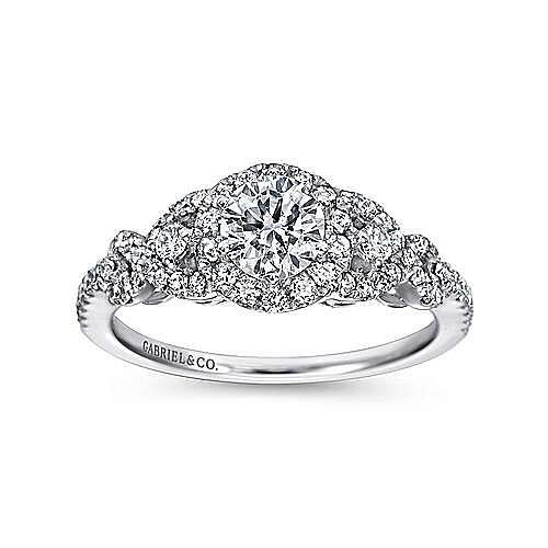Kalinda 14k White Gold Round Halo Engagement Ring angle 5