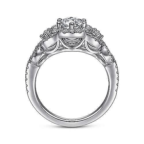 Kalinda 14k White Gold Round Halo Engagement Ring angle 2