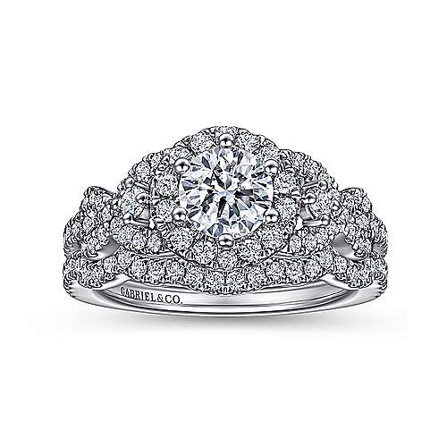 Kalinda 14k White Gold Round Halo Engagement Ring angle 4