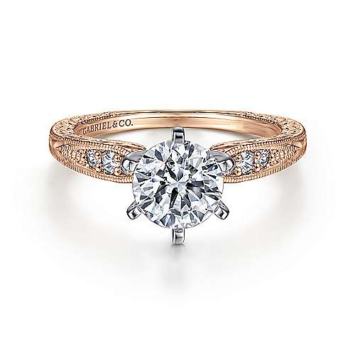 Gabriel - Kate 14k White And Rose Gold Round Straight Engagement Ring