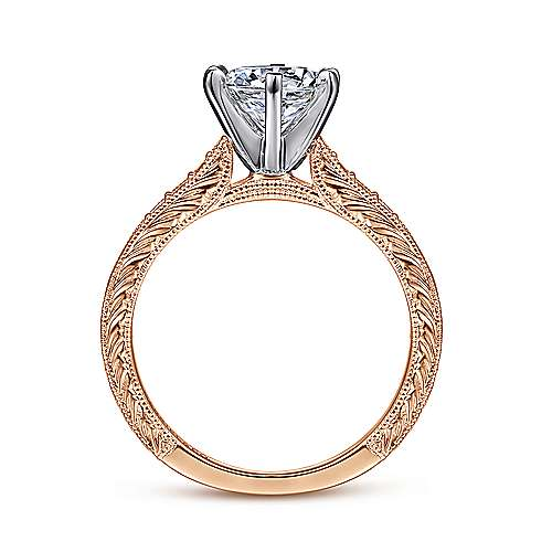 Kate 14k White And Rose Gold Round Straight Engagement Ring angle 2