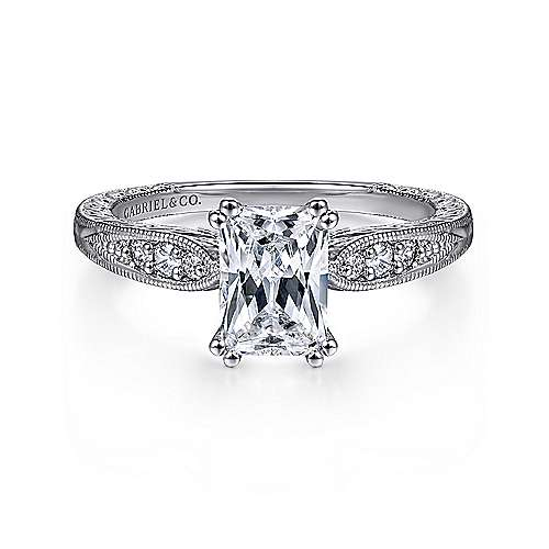 Gabriel - Kate 14k White Gold Emerald Cut Straight Engagement Ring