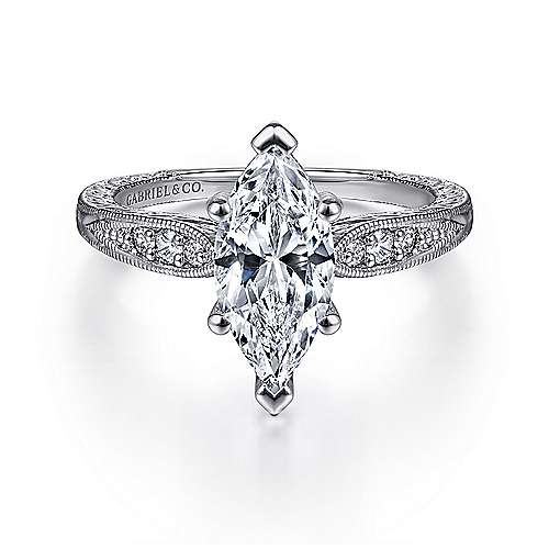 Gabriel - Kate 14k White Gold Marquise  Straight Engagement Ring