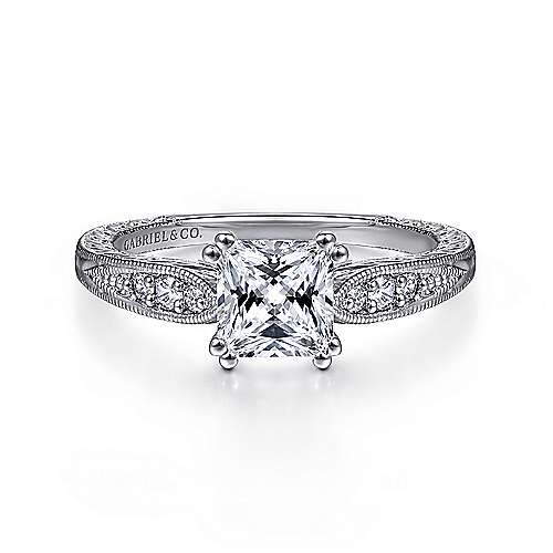 Gabriel - Kate 14k White Gold Princess Cut Straight Engagement Ring