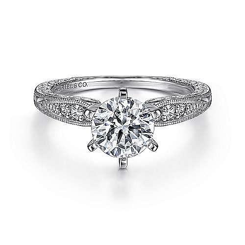 Gabriel - Kate 14k White Gold Round Straight Engagement Ring