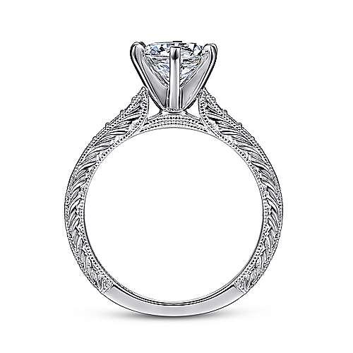 Kate 14k White Gold Round Straight Engagement Ring angle 2