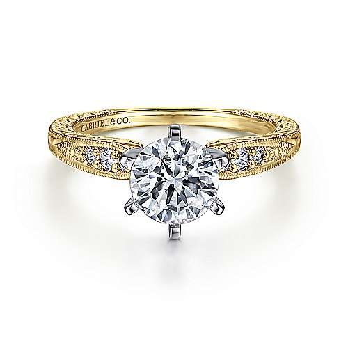 Kate 14k Yellow And White Gold Round Straight Engagement Ring angle 1
