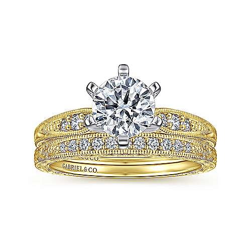 Kate 14k Yellow And White Gold Round Straight Engagement Ring angle 4